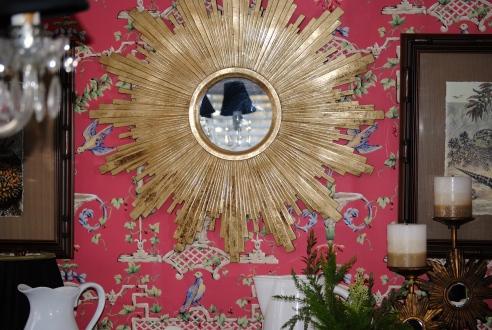 Sunburst mirror in dining room before