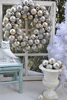 big silver ball wreath